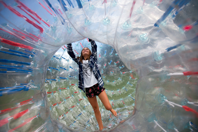 "Brooklyn Whitley, 10, plays in a zorb ball at the Hometown Fair in Boulder's Central Park on Saturday. <br /> More photos:  <a href=""http://www.dailycamera.com"">http://www.dailycamera.com</a><br /> (Autumn Parry/Staff Photographer)<br /> September 3, 2016"