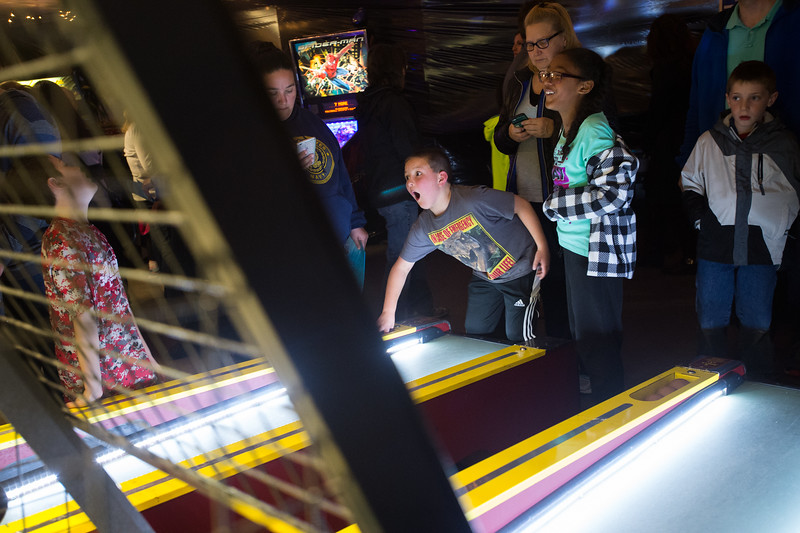 "Children play skee ball during JAM at Broomfield High School on Saturday. <br /> More photos:  <a href=""http://www.dailycamera.com"">http://www.dailycamera.com</a><br /> Autumn Parry/Staff Photographer<br /> April 30, 2016"