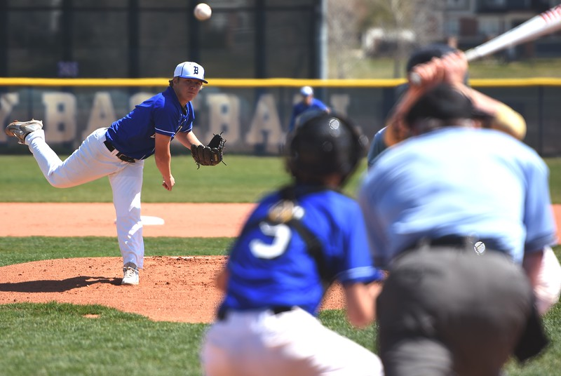 Broomfield starter Ross Lawnhurst delivers a pitch during the baseball game between Broomfield and Legacy on Saturday, April 28, at Legacy High School in Broomfield.