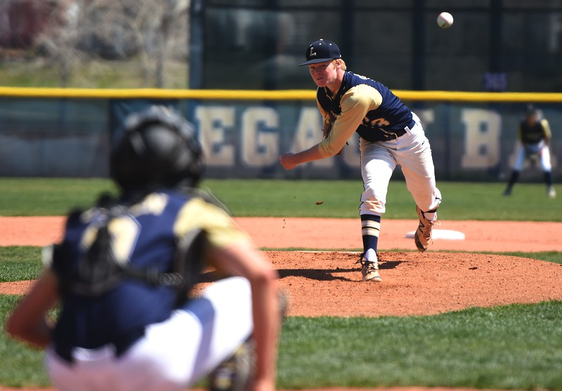 Legacy starter Ryan Overboe delivers a pitch during the baseball game between Broomfield and Legacy on Saturday, April 28, at Legacy High School in Broomfield.
