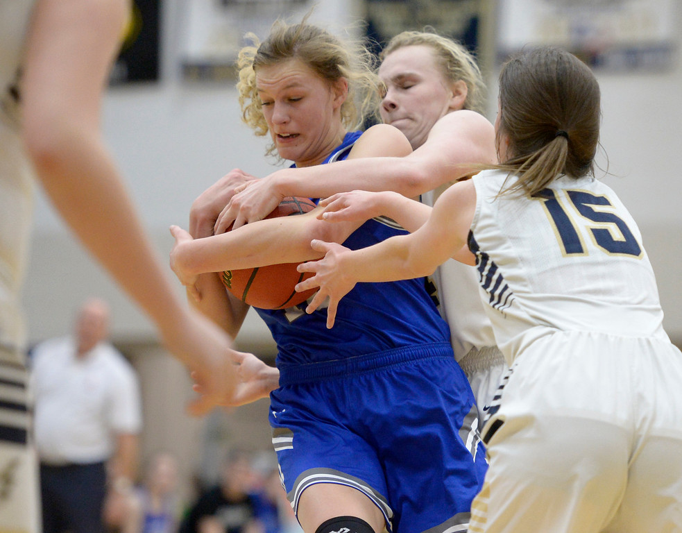. BROOMFIELD, CO - FEBRUARY 5: Broomfield\'s Courtney Wristen and Legacy\'s Halle Mackiewicz battle for a jump ball in the second quarter February 5, 2019 at Legacy High School. To view more photos visit bocopreps.com. (Photo by Lewis Geyer/Staff Photographer)