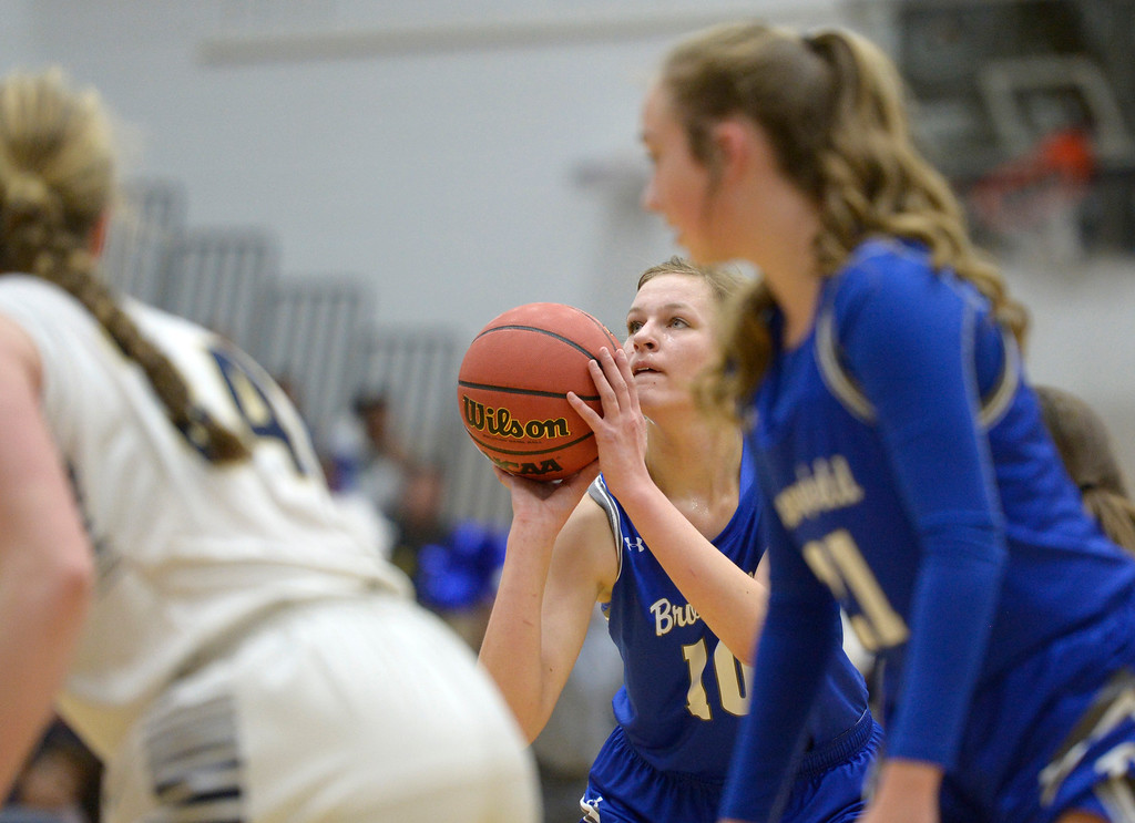 . BROOMFIELD, CO - FEBRUARY 5: Broomfield\'s Courtney Wristen shoots a free throw against Legacy in the second quarter February 5, 2019 at Legacy High School. To view more photos visit bocopreps.com. (Photo by Lewis Geyer/Staff Photographer)