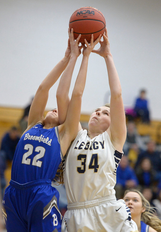 . BROOMFIELD, CO - FEBRUARY 5: Broomfield\'s Jessica Hoffman and Legacy\'s Halle Mackiewicz go for a rebound in the first quarter February 5, 2019 at Legacy High School. To view more photos visit bocopreps.com. (Photo by Lewis Geyer/Staff Photographer)