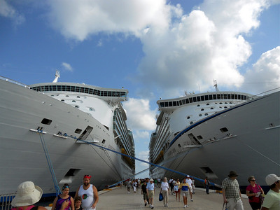 Our ship, The Voyager of the Seas on the right, and The Navigator of the Seas on the left docked in Cozumel, Mexico.