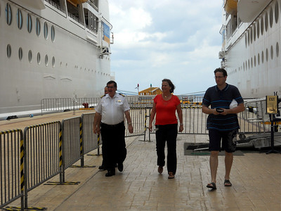 Captain Leif Otto Band getting off in Cozumel as we got back on the ship.