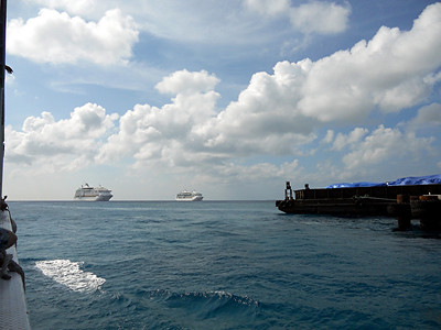 The Voyager and Jewel off of Grand Cayman.