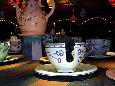 Elmer and Chuck on the tea cups.