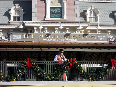The rope drop ceremony for the Magic Kingdom. This is the Mayor of Main Street