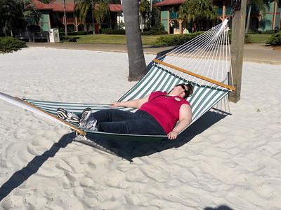 We got to the hotel a few hours early and had some time to kill. There was a beach area in front of our building with lots of hammocks. This is me plopped down tired from the flight.