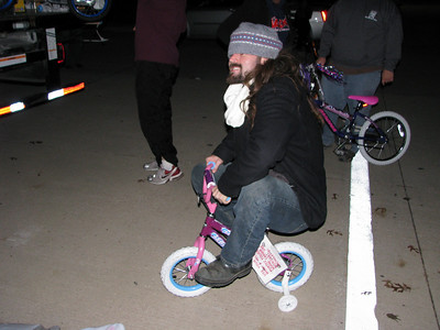 Chandler from Jack FM seems to have a thing for little pink bikes!