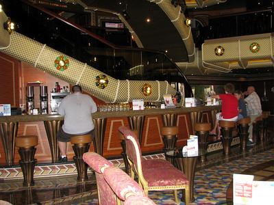 Chuck ordering a drink at the main lobby bar.
