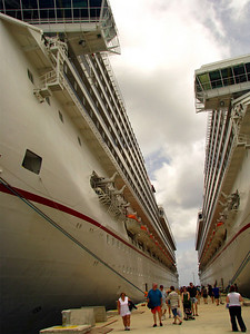 Carnival Conquest and Valor docked in Cozumel.