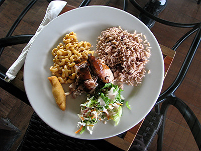 Our lunch of jerk chicken. It was yummy!