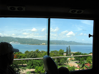 View in the bus driving to Dunn River Falls.