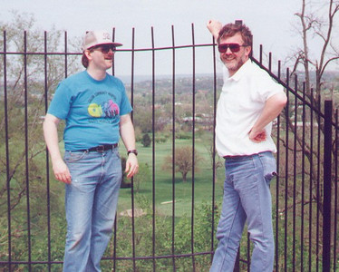Larry & Glenn. Best friends since college. Here we had just climbed up to the top of the Adena Indian Mound in Mound, Ohio. They were trying very hard not to appear winded.