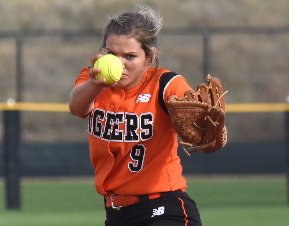 . Erie pitcher Alyssa Barnett delivers a pitch during the softball state championships on Friday at Aurora Sports Park. (Photo by Brad Cochi/BoCoPreps.com)