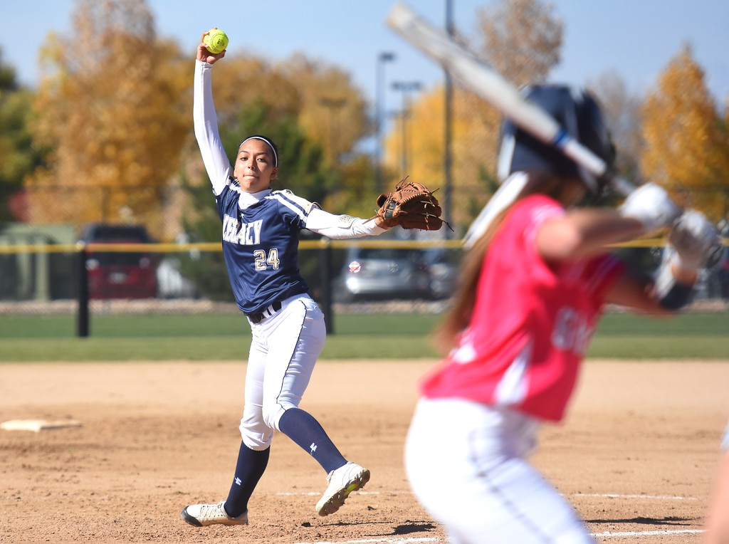 . Legacy pitcher Isabella Kelly delivers a pitch during the softball state championships on Friday at Aurora Sports Park. (Photo by Brad Cochi/BoCoPreps.com)
