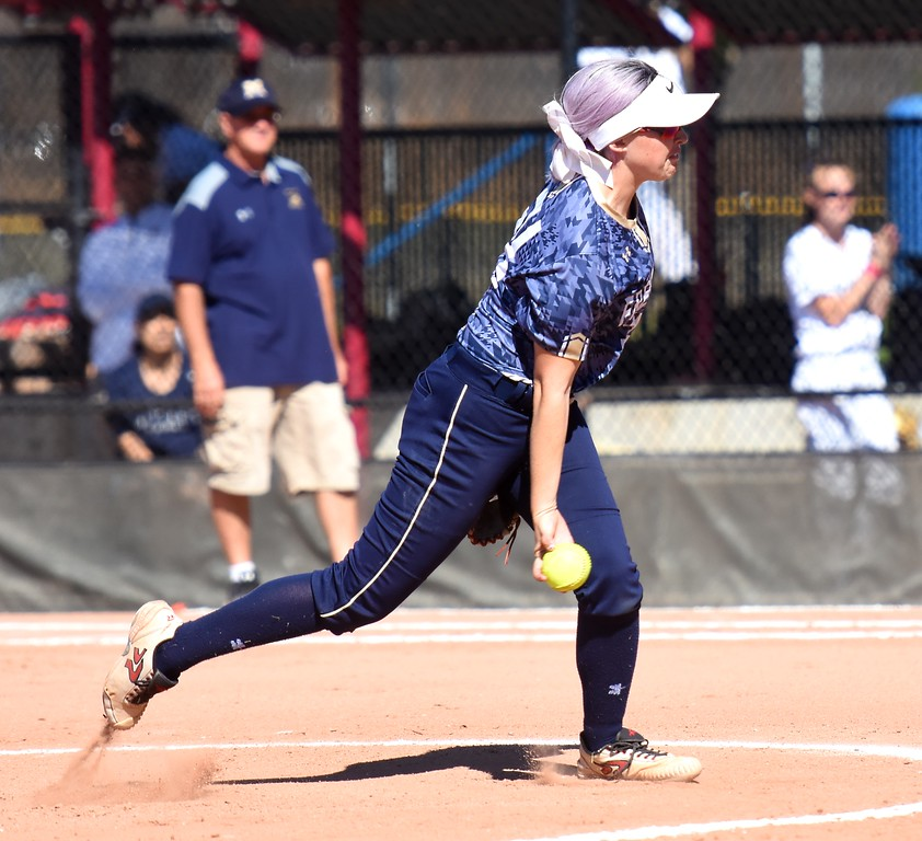 . Frederick pitcher Makenna Goodard delivers a pitch during the softball state championships on Friday at Aurora Sports Park. (Photo by Brad Cochi/BoCoPreps.com)