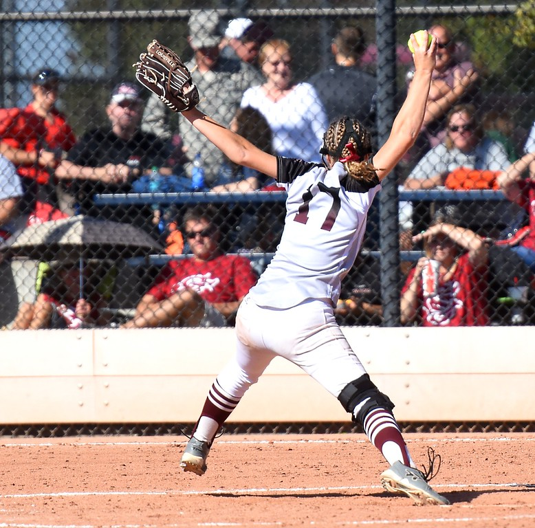 . Silver Creek�s delivers a pitch during the softball state championships on Friday at Aurora Sports Park. (Photo by Brad Cochi/BoCoPreps.com)