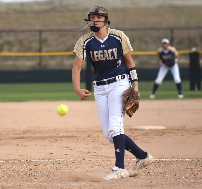 . Legacy�s Hannah Farley delivers a pitch during the softball state championships on Friday at Aurora Sports Park. (Photo by Brad Cochi/BoCoPreps.com)