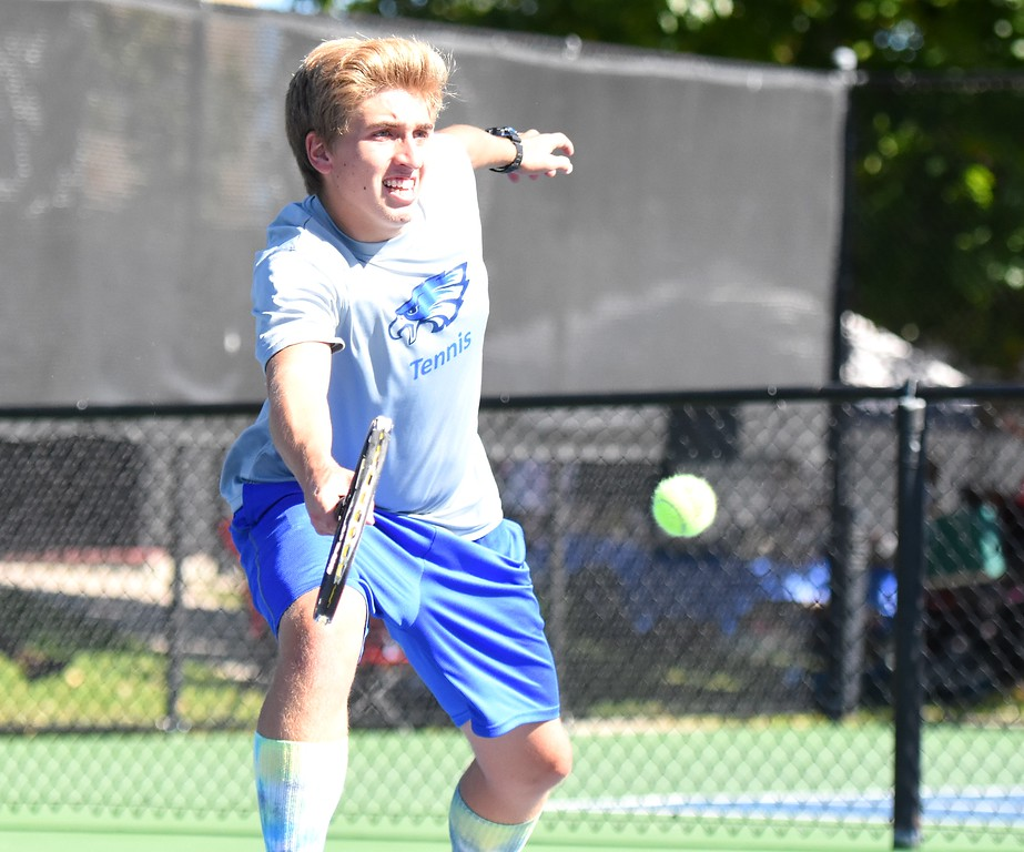 . Broomfield�s Jack Vanderberg gets to a drop shot during Day 1 of the Class 5A boys tennis state championships on Thursday at Gates Tennis Center in Denver. (Photo by Brad Cochi/BoCoPreps.com)