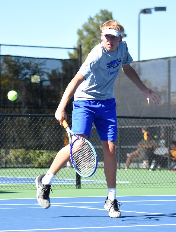 . Broomfield No. 2 doubles player Charlie Vanderberg returns a short shot during Day 1 of the Class 5A boys tennis state championships on Thursday at Gates Tennis Center in Denver. (Photo by Brad Cochi/BoCoPreps.com)