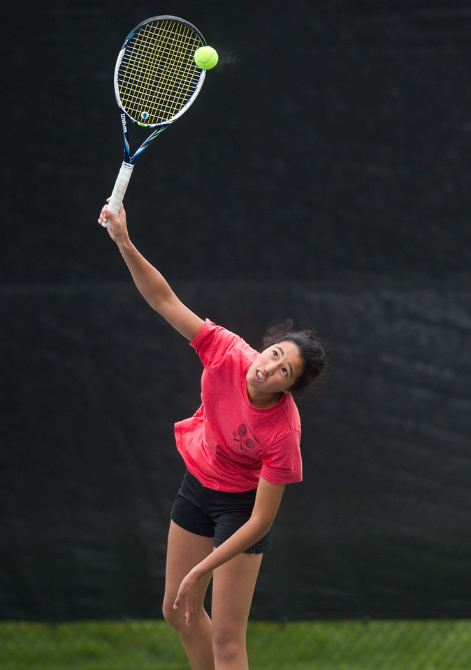 "Fairview High School's Seraphin Castelino serves the ball to Poudre High School's Ky Ecton in a #1 singles match during the 5A State Tennis Championship Tournament at the Gates Tennis Center in Denver on Saturday. <br /> More photos:  <a href=""http://www.BoCoPreps.com"">http://www.BoCoPreps.com</a><br /> Autumn Parry/Staff Photographer<br /> May 14, 2016"