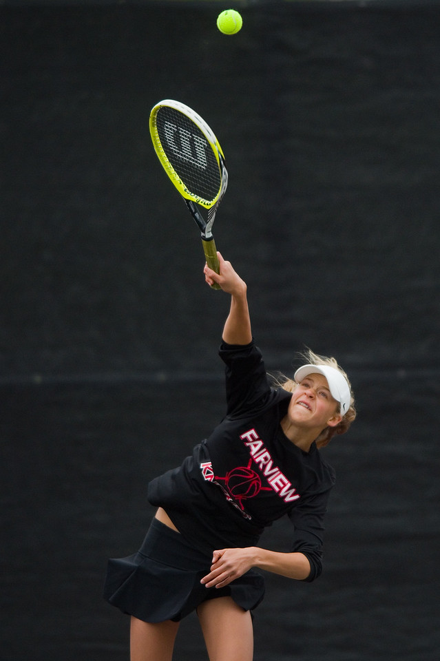 """Fairview's Denali Pinto serves the ball in a #4 double match with Clare Lupto  during the 5A State Tennis Championship Tournament at the Gates Tennis Center in Denver on Saturday.<br /> More photos:  <a href=""""http://www.BoCoPreps.com"""">http://www.BoCoPreps.com</a><br /> Autumn Parry/Staff Photographer<br /> May 14, 2016"""