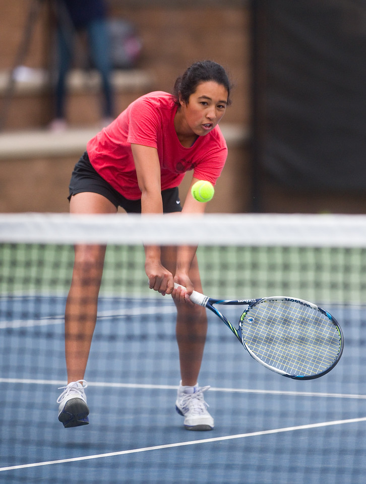 """Fairview High School's Seraphin Castelino returns the ball to Poudre High School's Ky Ecton in a #1 singles match during the 5A State Tennis Championship Tournament at the Gates Tennis Center in Denver on Saturday. <br /> More photos:  <a href=""""http://www.BoCoPreps.com"""">http://www.BoCoPreps.com</a><br /> Autumn Parry/Staff Photographer<br /> May 14, 2016"""