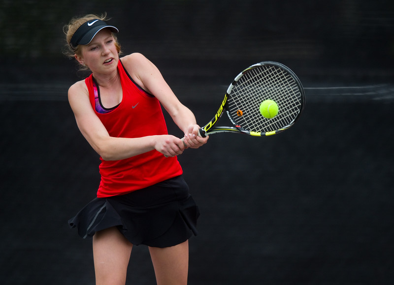"Fairview High School's Sophie Pearson returns the ball in a #3 singles match against Cherry Creek's  Sayuri Garud during the 5A State Tennis Championship Tournament at the Gates Tennis Center in Denver on Saturday. Pearson's 6-3 victory won the state title for Fairview High School.  <br /> More photos:  <a href=""http://www.BoCoPreps.com"">http://www.BoCoPreps.com</a><br /> Autumn Parry/Staff Photographer<br /> May 14, 2016"