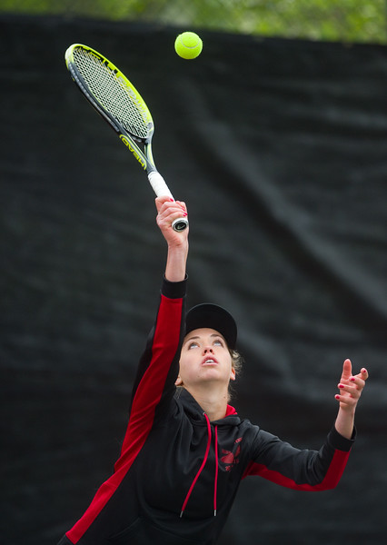 "Fairview High School's Ellie Savage serves the ball in a double match with Carolyn Roberts during the 5A State Tennis Championship Tournament at the Gates Tennis Center in Denver on Saturday.<br /> More photos:  <a href=""http://www.BoCoPreps.com"">http://www.BoCoPreps.com</a><br /> Autumn Parry/Staff Photographer<br /> May 14, 2016"