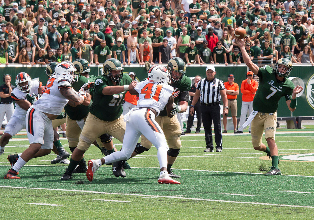 . Colorado State quarterback Nick Stevens (7) gets a throw off against Oregon State Saturday afternoon August 26, 2017 during the Ram\'s inaugural football game at the new on-campus stadium in Fort Collins. The Rams won, 58-27. (Michael Brian/For the Reporter-Herald)