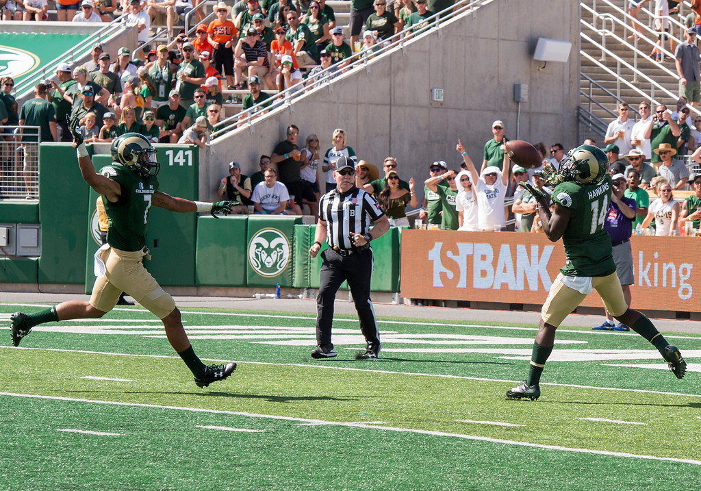 . Colorado State cornerback Anthony Hawkins (14) snags an interception against Oregon State Saturday afternoon August 26, 2017 at the new on-campus stadium in Fort Collins. The Rams won, 58-27. (Michael Brian/For the Reporter-Herald)