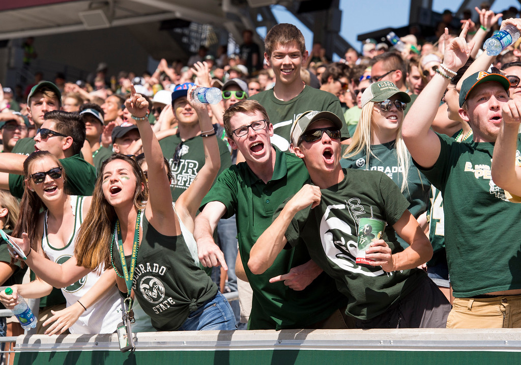 . Colorado State fans cheer their team on against Oregon State Saturday afternoon August 26, 2017 during the Ram\'s inaugural football game at the new on-campus stadium in Fort Collins. The Rams prevailed, 58-27. (Michael Brian/For the Reporter-Herald)