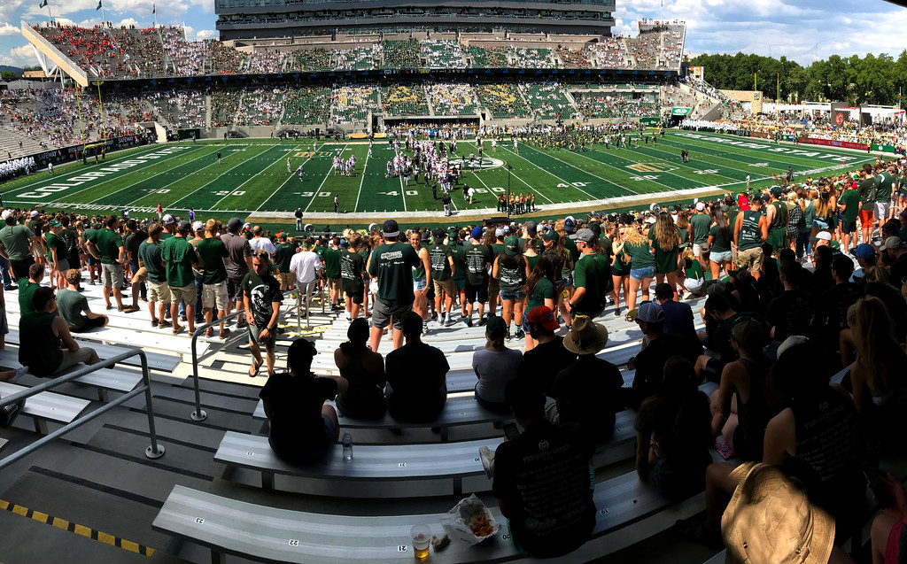. The student section begins to fill out before Colorado State\'s opener against Oregon State on Saturay Aug. 26, 2017 at new on-campus Colorado State Stadium. (Cris Tiller / Loveland Reporter-Herald)