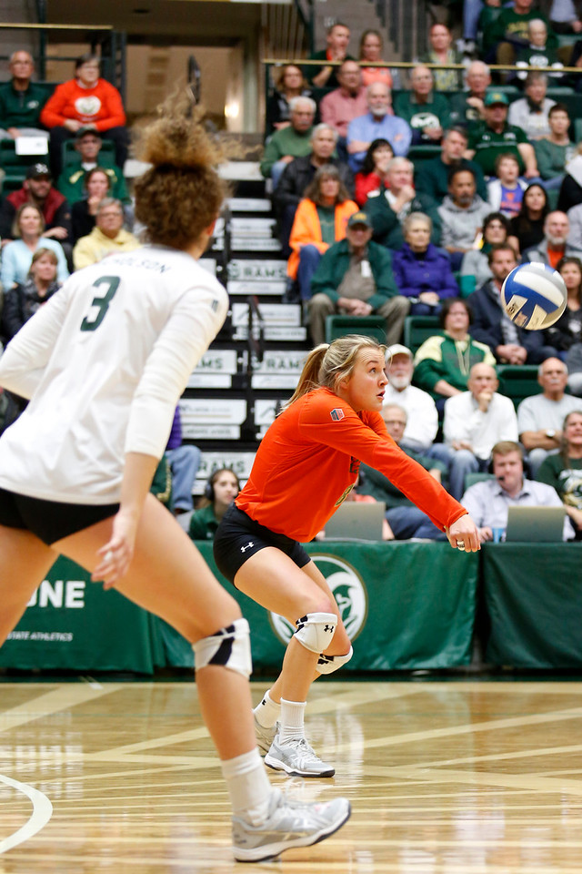 CSU's Amanda Young (8) hits back Fresno State's serve on Wednesday, Nov. 15, 2017 at the McGraw Athletic Center in Fort Collins. (Photo by Lauren Cordova/Loveland Reporter-Herald)