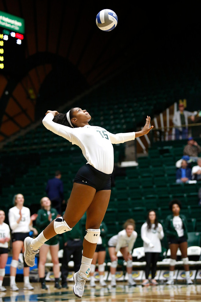 CSU's Breana Runnels (15) snaps back to serve the ball to Fresno State on Wednesday, Nov. 15, 2017 at the McGraw Athletic Center in Fort Collins. (Photo by Lauren Cordova/Loveland Reporter-Herald)
