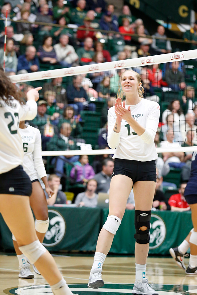 CSU's Kirstie Hillyer (13) celebrates scoring a point against Fresno State on Wednesday, Nov. 15, 2017 at the McGraw Athletic Center in Fort Collins. (Photo by Lauren Cordova/Loveland Reporter-Herald)
