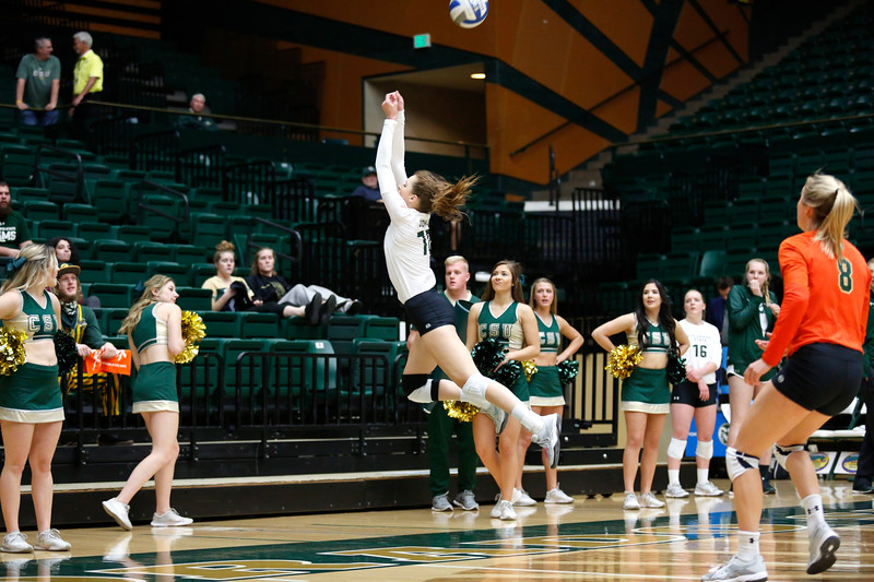 CSU's Sanja Cizmic (10) leaps to keep the ball in play against Fresno State on Wednesday, Nov. 15, 2017 at the McGraw Athletic Center in Fort Collins. (Photo by Lauren Cordova/Loveland Reporter-Herald)