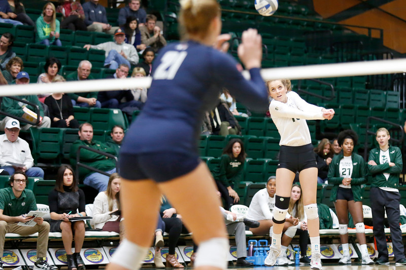 CSU's Sanja Cizmic (10) hits the ball back to Fresno State's Brielle Hefner (21) on Wednesday, Nov. 15, 2017 at the McGraw Athletic Center in Fort Collins. (Photo by Lauren Cordova/Loveland Reporter-Herald)