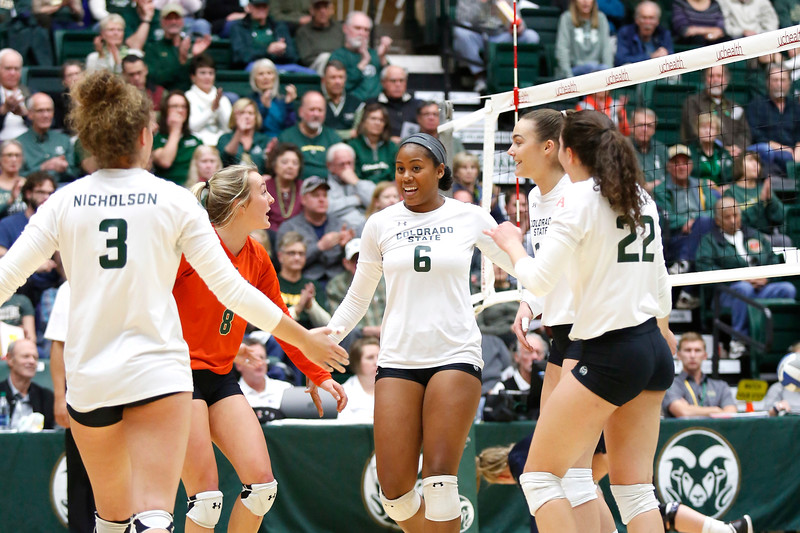 CSU's Jasmine Hanna (6) celebrates scoring a point with her teammates in their game against Fresno State on Wednesday, Nov. 15, 2017 at the McGraw Athletic Center in Fort Collins. (Photo by Lauren Cordova/Loveland Reporter-Herald)
