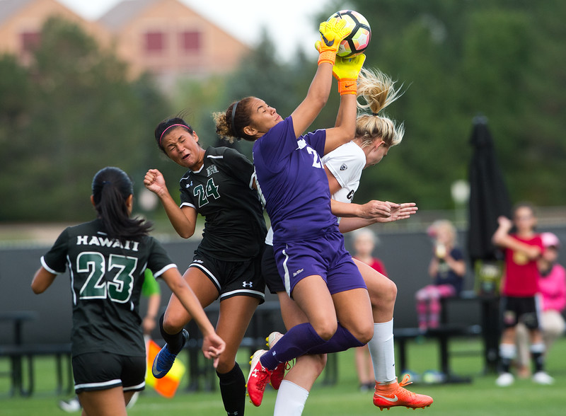 "Hawaii's goalkeeper Monk Berger catches the ball  during the game at CU Boulder's Prentup Field on Friday. CU defeated Hawaii 3-1. <br /> More photos:  <a href=""http://www.buffzone.com"">http://www.buffzone.com</a><br /> (Autumn Parry/Staff Photographer)<br /> September 9, 2016"