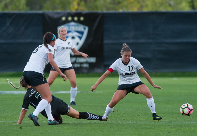 "CU's Kahlia Hogg gains possession of the ball during the game at CU Boulder's Prentup Field on Friday. CU defeated Hawaii 3-1. <br /> More photos:  <a href=""http://www.buffzone.com"">http://www.buffzone.com</a><br /> (Autumn Parry/Staff Photographer)<br /> September 9, 2016"