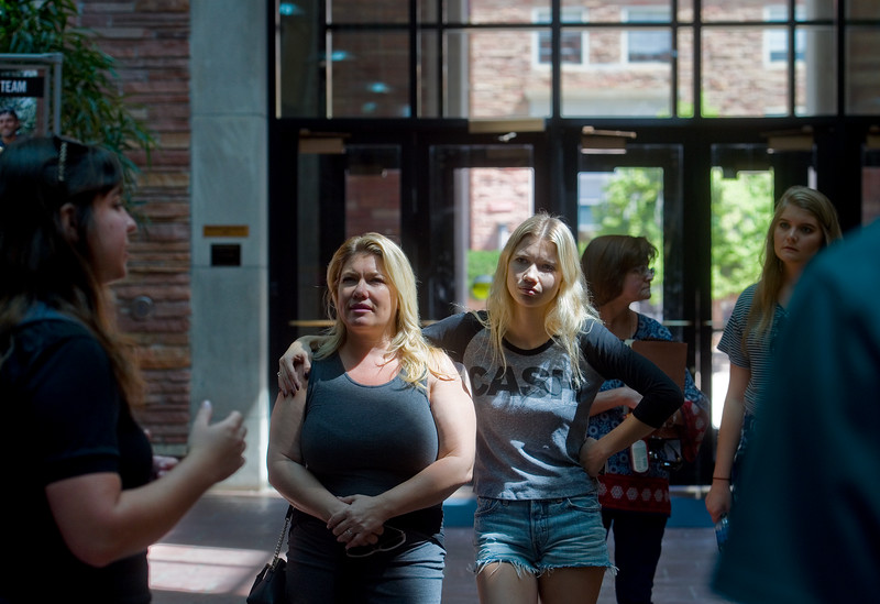 "Amanda Rockwell and her daughter Allana Rockwell, 19, listen as Piper Doering tells them about the University Memorial Center during a tour of CU Boulder on Friday. Rockwell will be an incoming freshmen this year and plans to study psychology. <br /> More photos:  <a href=""http://www.dailycamera.com"">http://www.dailycamera.com</a><br /> Autumn Parry/Staff Photographer<br /> June 3, 2016"