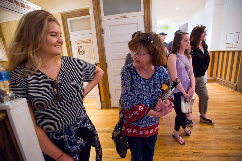 "Carson Pack (left) and her mother Kristen Pack visit the Heritage Center in the Old Main building during a tour at CU Boulder led by Piper Doering on Friday.<br /> More photos:  <a href=""http://www.dailycamera.com"">http://www.dailycamera.com</a><br /> Autumn Parry/Staff Photographer<br /> June 3, 2016"