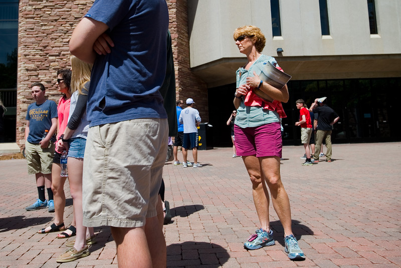 "Belinda Blair (right), who is touring the school with her son Austin Blair, listens to Piper Doering talk about CU Boulder outside of Norlin Library during a tour on Friday. <br /> More photos:  <a href=""http://www.dailycamera.com"">http://www.dailycamera.com</a><br /> Autumn Parry/Staff Photographer<br /> June 3, 2016"