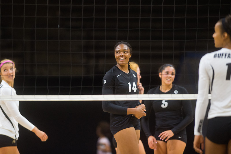 "Naghede Abu (center) plays in the volleyball scrimmage at the Coors Event Center at CU Boulder on Saturday.<br /> For more photos go to  <a href=""http://www.BoCoPreps.com"">http://www.BoCoPreps.com</a><br /> (Autumn Parry/Staff Photographer)<br /> August 20, 2016"