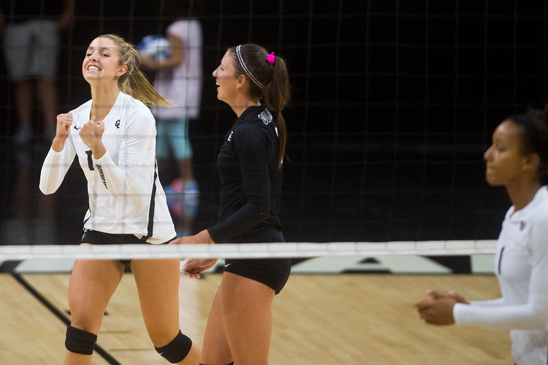 "Cierra Simpson celebrates after their team scored during the volleyball scrimmage at the Coors Event Center at CU Boulder on Saturday.<br /> For more photos go to  <a href=""http://www.BoCoPreps.com"">http://www.BoCoPreps.com</a><br /> (Autumn Parry/Staff Photographer)<br /> August 20, 2016"