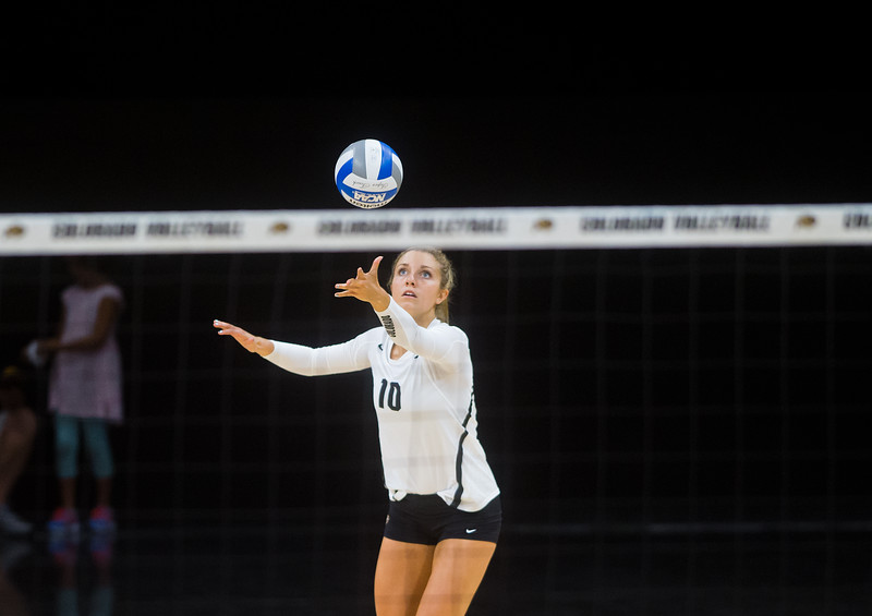"Cierra Simpson serves during the volleyball scrimmage at the Coors Event Center at CU Boulder on Saturday.<br /> For more photos go to  <a href=""http://www.BoCoPreps.com"">http://www.BoCoPreps.com</a><br /> (Autumn Parry/Staff Photographer)<br /> August 20, 2016"