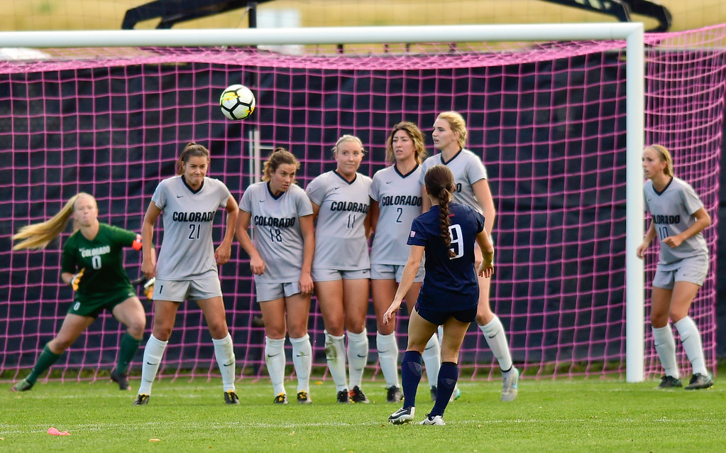 . University of Colorado defends their goal as University of Arizona Gabi Stoian (No. 9) takes a shot at Prentup Field in Boulder, Colorado on Oct. 22, 2017. (Photo by Matthew Jonas/Times-Call)